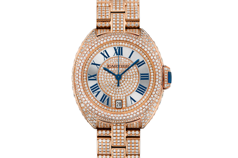 Cartier Clé de Cartier - Rose Gold & Diamond on Bracelet - Silver Dial (35mm)