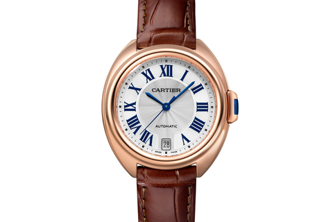 Cartier Clé de Cartier - Rose Gold on Brown Leather - Silver Dial (31mm)