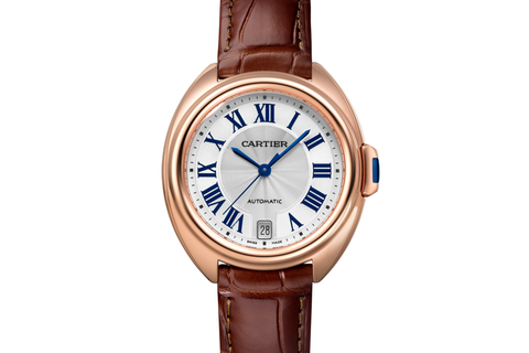 Cartier Clé de Cartier - Rose Gold on Brown Leather - Silver Dial (35mm)