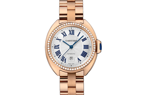 Cartier Clé de Cartier - Rose Gold on Bracelet - Silver Dial w/ Diamond Bezel (31mm)