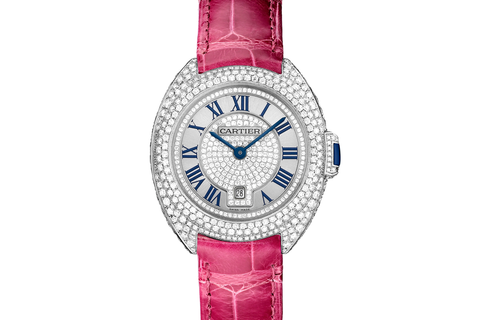 Cartier Clé de Cartier - White Gold & Diamond on Pink Leather - Silver Dial (31mm)