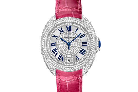 Cartier Clé de Cartier - White Gold & Diamond on Pink Leather - Silver Dial (35mm)
