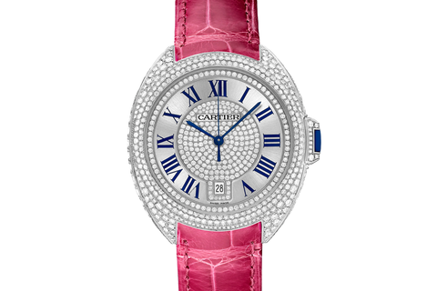 Cartier Clé de Cartier - White Gold & Diamond on Pink Leather - Silver Dial (40mm)