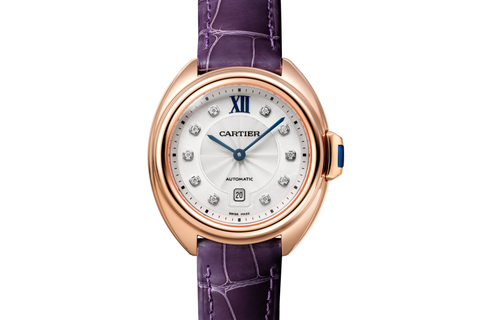 Cartier Clé de Cartier - Rose Gold on Purple Leather - Silver Dial (31mm)