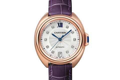 Cartier Clé de Cartier - Rose Gold on Purple Leather - Silver Dial (35mm)