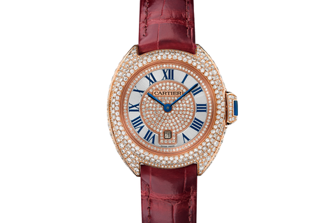 Cartier Clé de Cartier - Rose Gold & Diamond on Bordeaux Leather - Silver Dial (31mm)