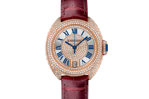 Cartier Clé de Cartier - Rose Gold & Diamond on Bordeaux Leather - Silver Dial (35mm)