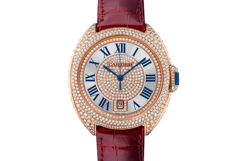 Cartier Clé de Cartier - Rose Gold & Diamond on Bordeaux Leather - Silver Dial (40mm)