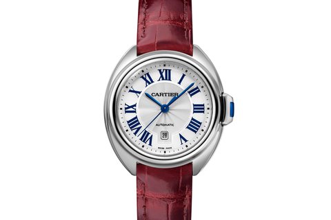 Cartier Clé de Cartier - Stainless Steel on Bordeaux Leather - Silver Dial (31mm)