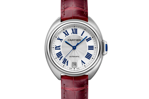 Cartier Clé de Cartier - Stainless Steel on Bordeaux Leather - Silver Dial (35mm)