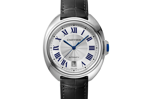 Cartier Clé de Cartier - Stainless Steel on Black Leather - Silver Dial (40mm)