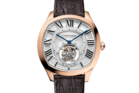 Cartier Drive de Cartier Flying Tourbillon - Rose Gold on Brown Leather - White Dial
