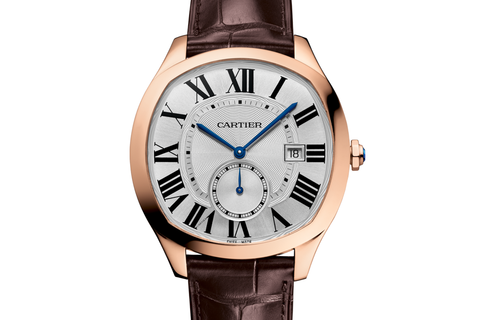Cartier Drive de Cartier - Rose Gold on Brown Leather - Silver Dial