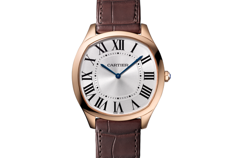 Cartier Drive de Cartier Extra-Flat - Rose Gold on Brown Leather - Silver Dial