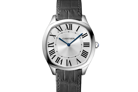 Cartier Drive de Cartier Extra-Flat - White Gold on Grey Leather - Silver Dial