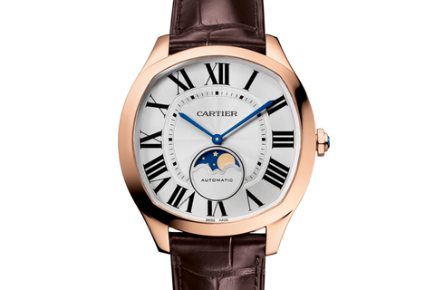 Cartier Drive de Cartier Moonphases - Rose Gold on Brown Leather - Silver Dial