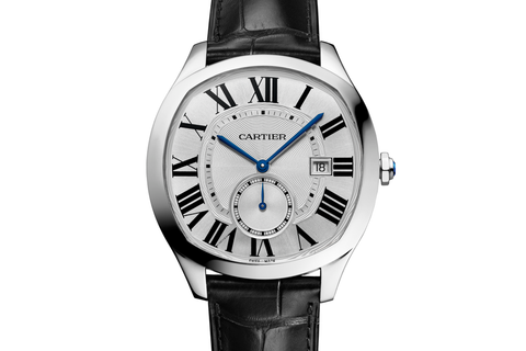 Cartier Drive de Cartier - Stainless Steel on Black Leather - Silver Dial