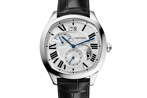 Cartier Drive de Cartier Large Date Retrograde - Stainless Steel on Black Leather - Silver Dial