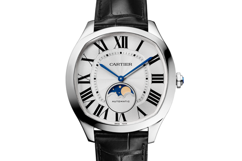 Cartier Drive de Cartier Moonphases - Stainless Steel on Black Leather - Silver Dial