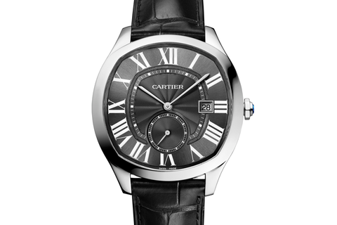 Cartier Drive de Cartier - Stainless Steel on Black Leather - Black Dial