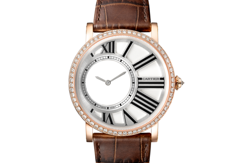 Cartier Rotonde de Cartier Mysterious Hour - Rose Gold on Brown Leather - Silver Dial w/ Diamond Bezel