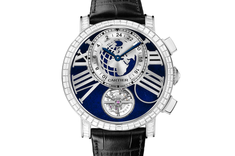 Cartier Rotonde de Cartier Earth and Moon - Platinum on Black Leather - Blue Dial w/ Diamond Bezel