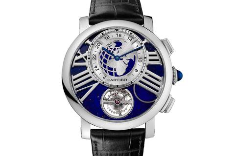 Cartier Rotonde de Cartier Earth and Moon - Platinum on Black Leather - Blue Dial