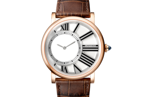 Cartier Rotonde de Cartier Mysterious Hour - Rose Gold on Brown Leather - Silver Dial