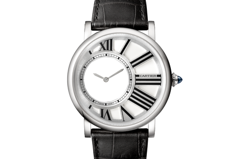 Cartier Rotonde de Cartier Mysterious Hour - White Gold on Black Leather - Silver Dial