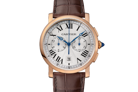 Cartier Rotonde de Cartier Chronograph - Rose Gold on Brown Leather - Silver Dial