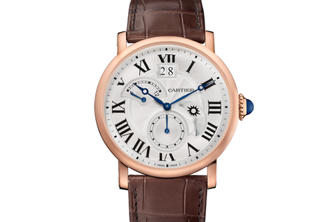 Cartier Rotonde de Cartier Large Date - Rose Gold on Brown Leather - Silver Dial