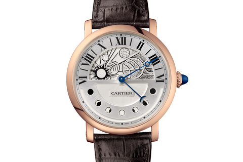 Cartier Rotonde de Cartier Day & Night - Rose Gold on Brown Leather - Silver Dial