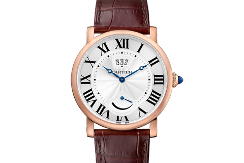 Cartier Rotonde de Cartier Power Reserve - Rose Gold on Brown Leather - Silver Dial