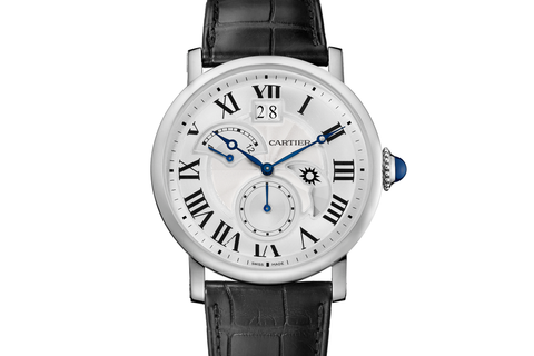 Cartier Rotonde de Cartier Large Date - Stainless Steel on Black Leather - Silver Dial