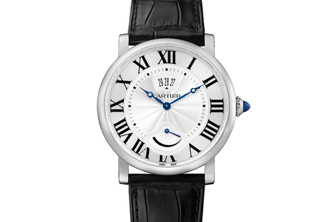 Cartier Rotonde de Cartier Power Reserve - Stainless Steel on Black Leather - Silver Dial