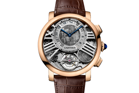 Cartier Rotonde de Cartier Earth and Moon - Rose Gold on Brown Leather - Meteorite Dial