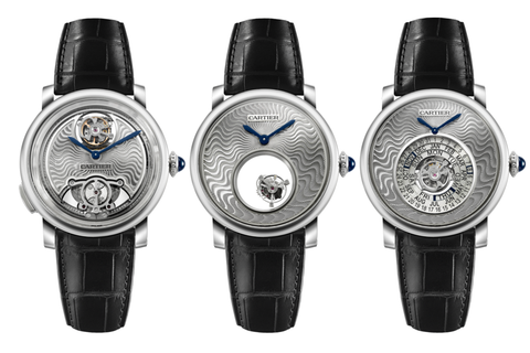 Cartier Rotonde de Cartier Fine Watchmaking Gift Set - Set of 3 - White Gold on Black Leather