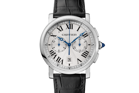 Cartier Rotonde de Cartier Chronograph - Stainless Steel on Black Leather - Silver Dial