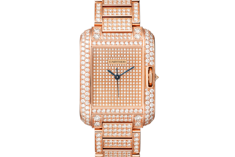 Cartier Tank Anglaise L - Rose Gold & Diamond on Bracelet - Diamond Dial