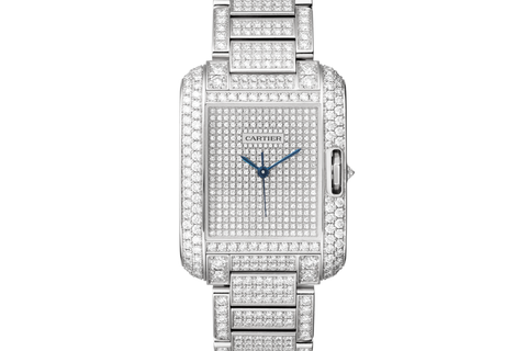 Cartier Tank Anglaise L - White Gold & Diamond on Bracelet - Diamond Dial