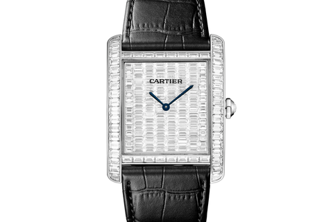 Cartier Tank MC High Jewelry - White Gold & Diamond on Black Leather - Diamond Dial