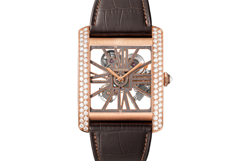 Cartier Tank MC Skeleton - Rose Gold &  Diamond on Brown Leather - Skeleton Dial