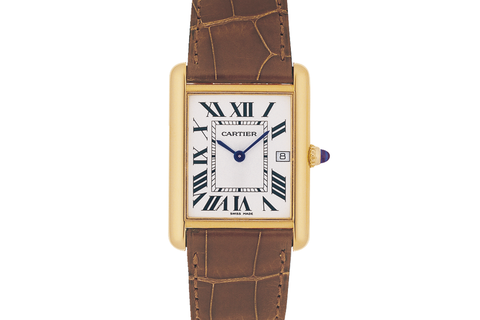 Cartier Tank Louis Cartier L - Yellow Gold on Brown Leather - Silver Dial