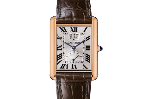 Cartier Tank Louis Cartier XL - Rose Gold on Brown Leather - Silver Dial