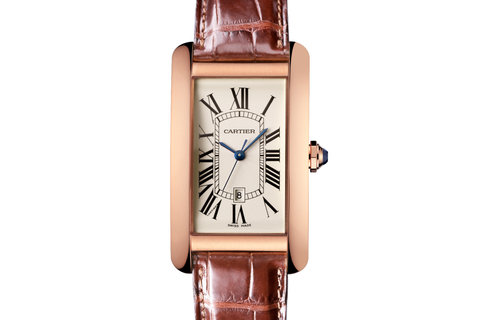 Cartier Tank Américaine L - Rose Gold on Brown Leather - Silver Dial