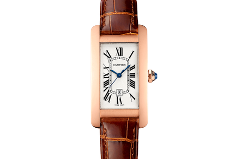 Cartier Tank Américaine M - Rose Gold on Brown Leather - Silver Dial
