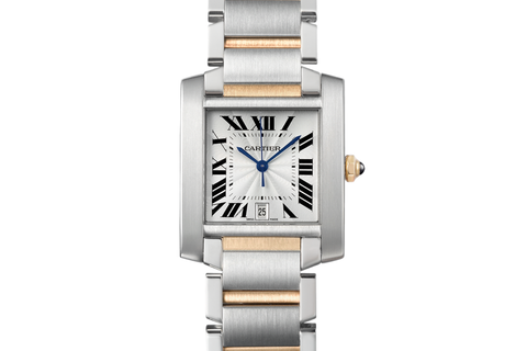 Cartier Tank Française - Stainless Steel & Yellow Gold on Bracelet - Silver Dial