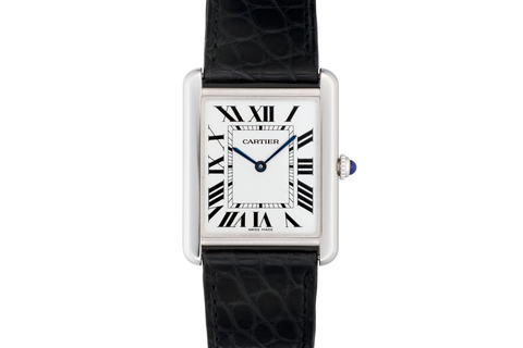 Cartier Tank Solo Quartz - Stainless Steel on Black Leather - Silver Dial