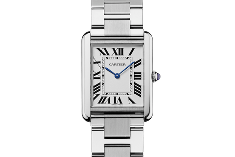 Cartier Tank Solo Quartz - Stainless Steel on Bracelet - Silver Dial