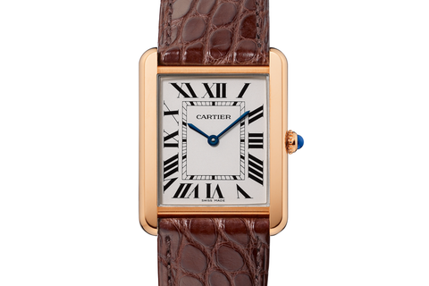Cartier Tank Solo Quartz - Rose Gold on Brown Leather - Silver Dial